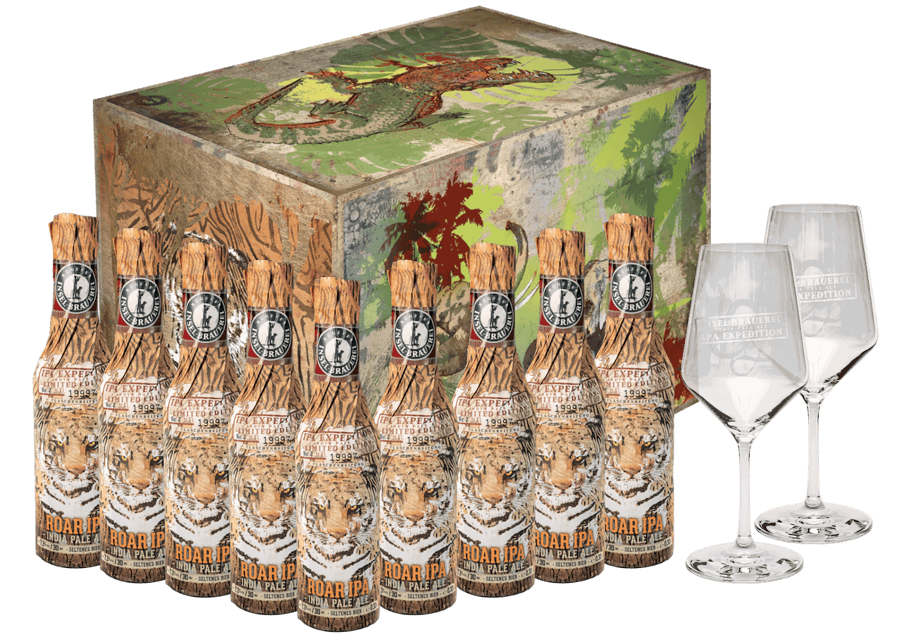 Roar IPA LIMITIERT Karton - 9 x 0,33l + 2 EXKLUSIVE Gläser